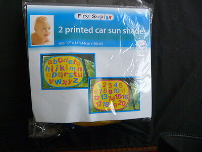 Two Car Window Sun Shades / Blind - Printed Alphabet And Numbers