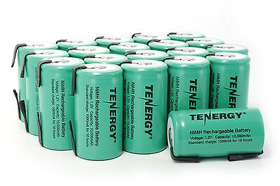 20 x Tenergy D Size 10000mAh NiMH Rechargeable Batteries Flat Top (w/ Tabs)