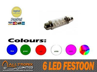 6 LED C5W SV8.5 239 FESTOON 36mm CHOOSE COLOUR PINK BLUE RED WHITE GREEN DISCO