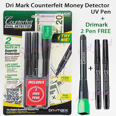 Dri-mark Smart Money Counterfeit Detector UV Led Light Pen + FREE Dri-mark 2 Pen