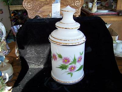 Vintage Large Hand Painted Thistle Flower Glass Canister Jar with Gold Trim