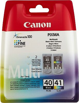 Canon Pixma MP190 MP210 MP220 MP450 MP460 MP470 Original Twin Pack Ink PG40 CL41