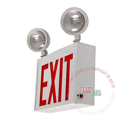 Red LED Exit Sign/Emergency Light - NYC Steel Combo UL