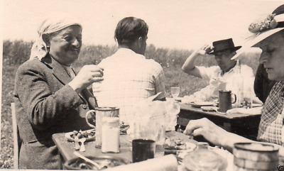 AB851  Photo groupe fête repas champ campagne pic nic arbre ombre vers 1930