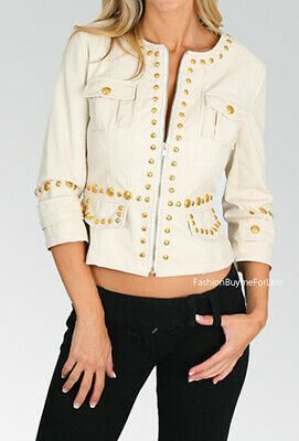 Women Faux Leather Outerwear Cheetah Lined Gold Studs Fitted Jacket Blazer Coat