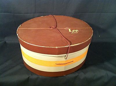 Beautiful Vintage Women's Men's HAT BOX from LEE'S HATS Browns Greens STRIPES