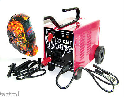 Arc Stick  Welder 200 Machine 110-220 Dual & Auto Darkening Skull Welding Helmet