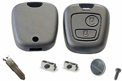 Repair KIT for Peugeot 206 2 button remote key case switches & battery DIY