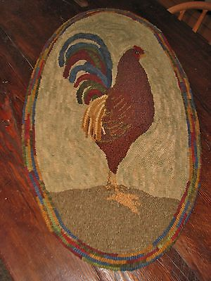 "Primitive Hooked Rug Pattern On Monks ""prim Rooster"""
