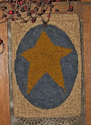 "Primitive Hooked Rug Pattern On Monks ""petite Prims Series ~ Prim Star"""