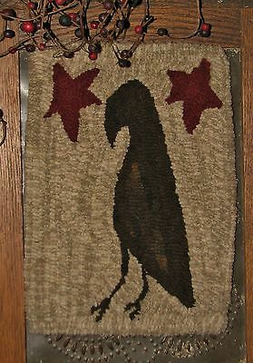 "Primitive Hooked Rug Pattern On Monks ""petite Prims Series ~ Prim Crow"""