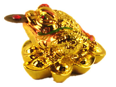 Feng Shui mini Three Legged Wealth Frog (Money Frog or Money Toad) on Yuan Bao