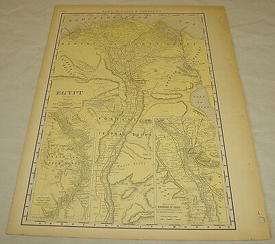 1904 Rand McNally COLOR MAP of EGYPT