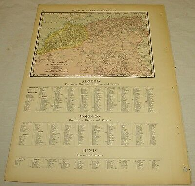 1904 Rand McNally COLOR MAP of ALGERIA, MOROCCO, TUNISIA