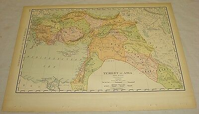 1904 Rand McNally COLOR MAP of TURKEY IN ASIA