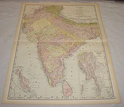 1904 Rand McNally COLOR MAP of INDIA/21x27.5""