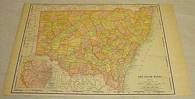 1904 Rand McNally COLOR MAP of NEW SOUTH WALES, AUSTRALIA