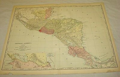 """1904 Rand McNally COLOR MAP of CENTRAL AMERICA/21x27.5"""""""
