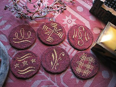 Primitive Punch Needle Pattern ~ Set Of Six Redware Plate Coasters
