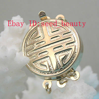 3 Strands Yellow Gold Plated Jewelry Clasp finding