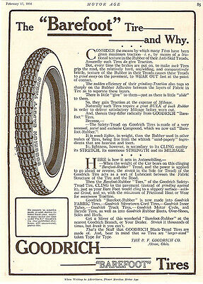 LARGE 1916 GOODRICH BAREFOOT RUBBER TIRE TIRES AD AKRON OHIO