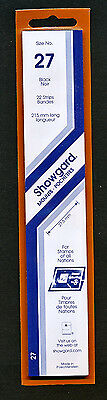 Showgard Stamp Mounts Size 27/215 BLACK Background Pack of 22