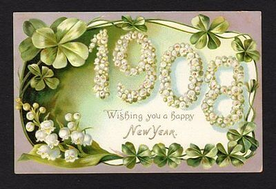 New Years Postcard Tuck's 1908, 4 leaf clover, lily of the valley