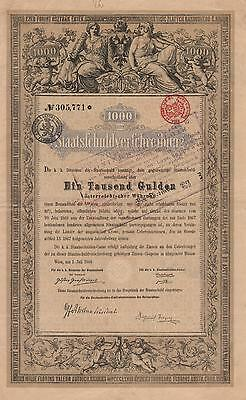 AUSTRIA GOVERNMENT BOND stock certificate JULY 1868, 1000 GUILDEN