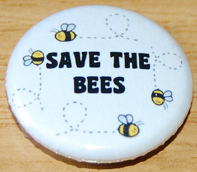 """save The Bees"" 25Mm / 1Inch Button Badge Eco Green Honey Insect Bee-Keeping"
