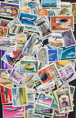 Collection Of 200 Different Aviation - Airplane Stamps - No Duplicates!