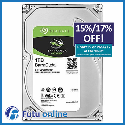 "1TB Seagate HDD BarraCuda 3.5"" SATA Internal Desktop Hard Drive 7200RPM 64MB"