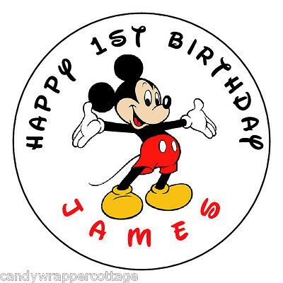 "Mickey Mouse Birthday Personalized 2.5"" Round Labels Favors Sticker Loot Bags"