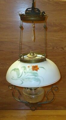 Custom Made  Vintage Oil Lamp Chandelier with Crystals 15in Diameter Glass Metal