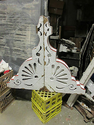 "HUGE pairr RED & white VICTORIAN gingerbread porch house corbels 35"" x 20"" x 5"" • CAD $495.41"