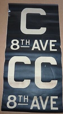 1930's Antique NYC New York City Subway Front Destintion Roll Sign C 8th AVE CC