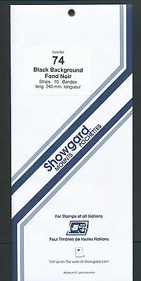 Showgard Stamp Mounts Size 74/240 BLACK Background Pack of 10