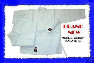 WHITE Middle Weight Karate Uniform Gi Size 00 BRAND NEW
