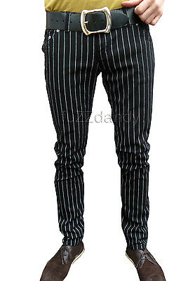 Drainpipes trousers skinny jeans vtg 60s indie men mod pin stripe black hipsters