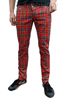 Mens Drainpipes Mens Trousers Skinny Jeans vtg 80s 60s indie mod Red Tartan punk