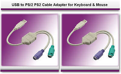 USB to PS/2 PS2 Cable Adapter for Mouse & Keyboard Brand New