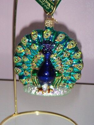 "Old World Christmas ""Proud Peacock"" Glass Ornt"