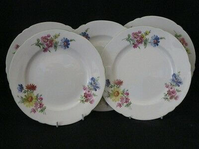 "Vintage Shelley Green Edged ""Summer Flowers"" 23.5cm Plates x 5 pattern 2748"