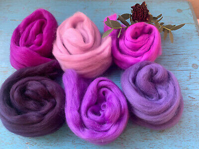 Heidifeathers® Merino Wool Tops - 'Perfect Purples' - Felting Wool