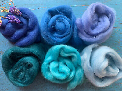 Heidifeathers® Merino Wool Tops - 'Brilliant Blues'  - Felting Wool