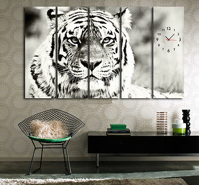 BW Powerful Tiger Wall Art With Clock On Quality Canvas Art Prints Set Of 5