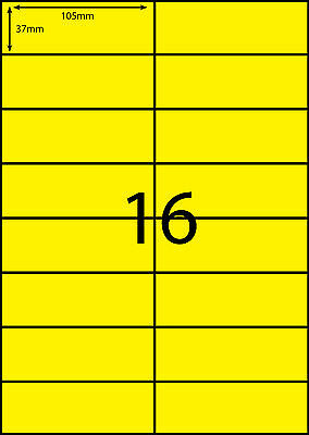 A4 Labels Avery Compatible 100 sheets-FLUORO YELLOW- 16 labels page**DL RANGE