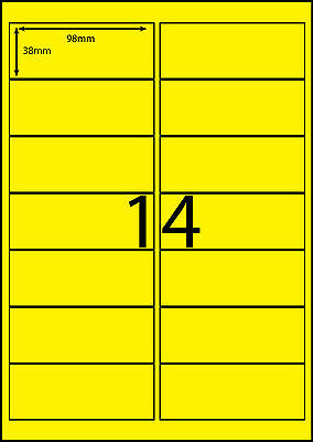 A4 Labels Avery Compatible 100 sheets-FLUORO YELLOW-14 labels page **DL RANGE