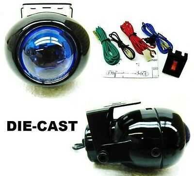 BLACK PROJECTOR DIE-CAST DRIVING FOG LIGHTS WITH WIRING KIT AND SWITCH *Ai