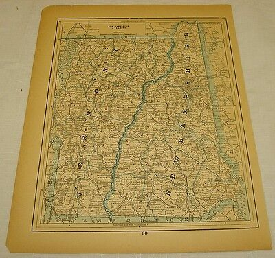 1889 COLOR MAP of VERMONT & NEW HAMPSHIRE b/w MAINE