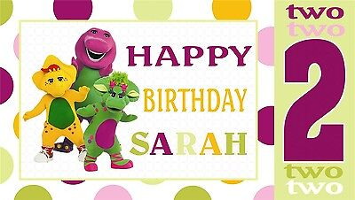 Barney & Friends Birthday Banner Personalized Custom Design Indoor Outdoor Party